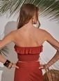 Morhipo Beach Straplez Bluz Kiremit